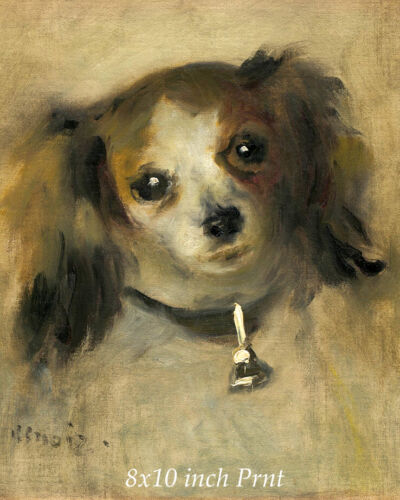 Head of a Dog by Pierre Auguste Renoir - Pet Pup Collar and Bell 8x10 Print 3496