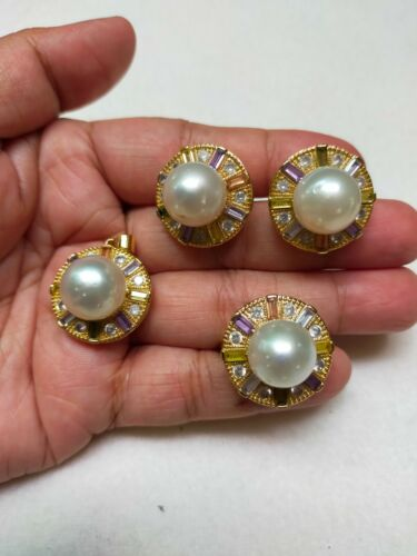 Auth SOUTH SEA PEARL Earrings Ring & Pendant Set in Micron Setting S8.0 ChunKY