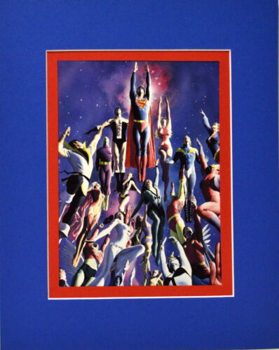 LEGION Of SUPERHEROES PRINT Professionally Matted DC Alex Ross