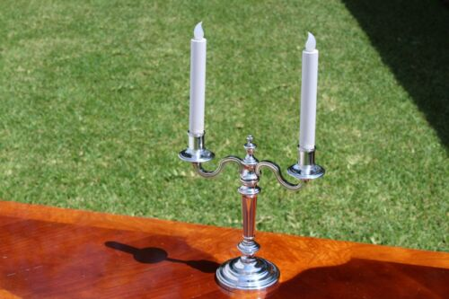 Classic Christofle 2-Lights Silver Plated Candelabras