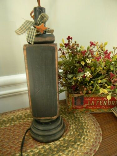 """11"""" Sanded Black Wooded Electric Lamp Primitive Colonial Country Farmhouse"""