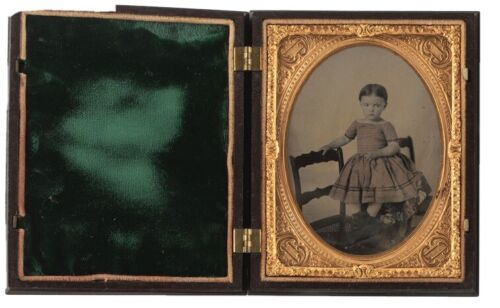 1/4 Plate Ambrotype of cherubic, toddler-aged girl, posed atop a chair Berg 1-41