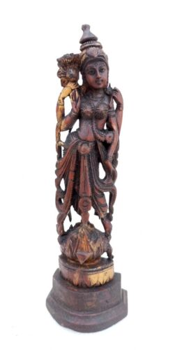 Antique Hindu Goddess Figure Deity Statue Old Rare Indian Hand Carved Wooden