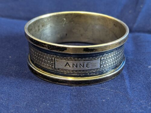 """Henry Griffith & Sons sterling silver Napkin Ring """"Anne"""" engraving c. 1934"""