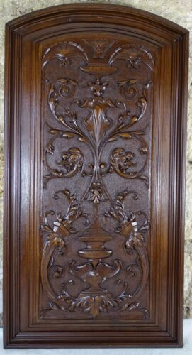 French Large Antique Carved Walnut Wood Wall Panel - Renaissance Style Chimera