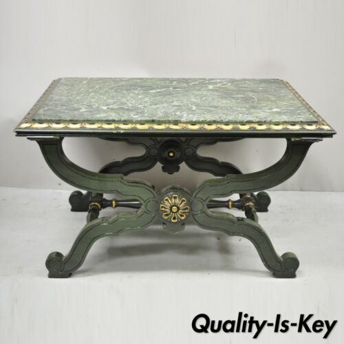 Vintage Curule X-Form Dorothy Draper Espana Style Green Marble Top Coffee Table