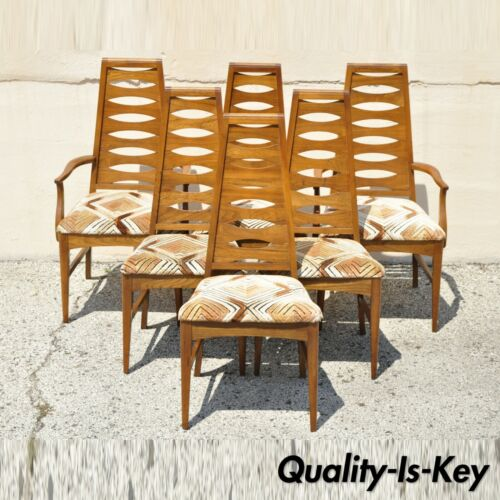 Vintage Mid Century Modern Walnut Tall Ladder Back Dining Chairs - Set of 6