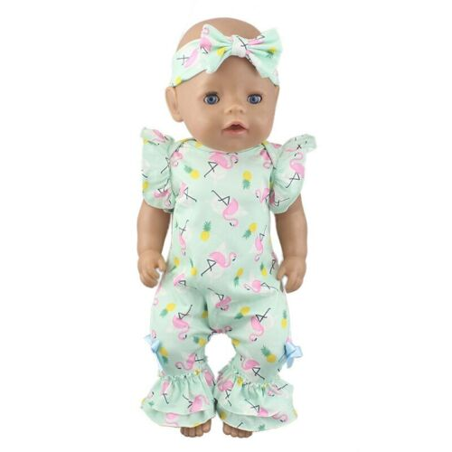 Dolls Clothes for Baby Born 2 Piece Outfit Flamingo Pineapple print gift