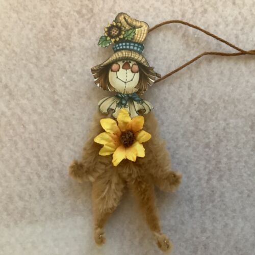 Paper doll Vintage thanksgiving ornaments, scarecrow sunflower gift tag item# 9