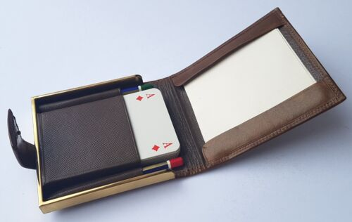 Set Playing Cards 2 Pencils a. W. Faber Case Made From Leather Um 1950 K619