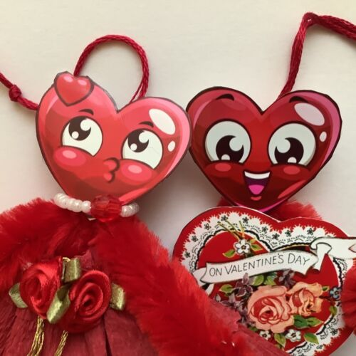 Paper doll Vintage Valentines ornaments feather tree gift tags heart item# 23