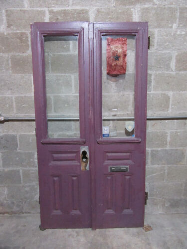 ~ ANTIQUE DOUBLE ENTRANCE FRENCH DOORS ~ 44 X 82.5 ~ ARCHITECTURAL SALVAGE