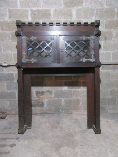 ~ ANTIQUE GOTHIC OAK FIREPLACE MANTEL CARVED FACES ~ 60 X 79 42 OPEN ~ SALVAGE