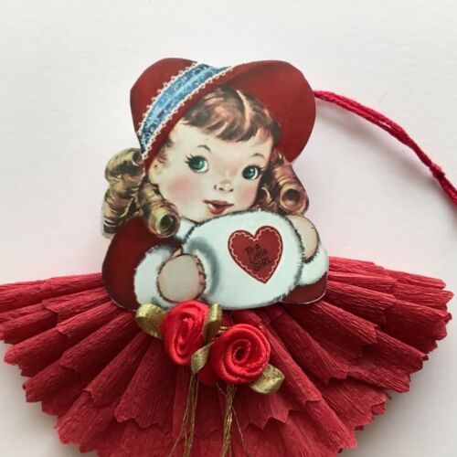 Paper doll Vintage Valentine's Day feather tree ornaments gift tags card item#13