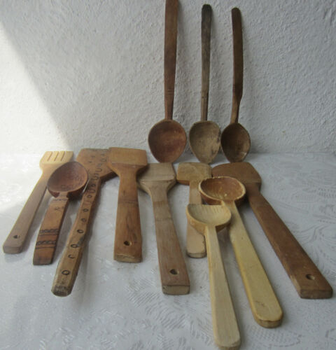 12 х   used  Wooden  spoon and   stirrer,   lot of 12