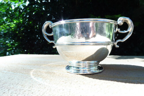 Antique Irish Silver Two Handle Footed Bowl Dublin Hallmarks 1909 West and Son