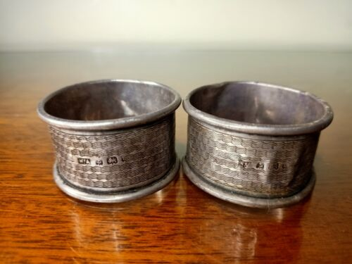 Antique Silver napkin rings Hallmarked Date stamp 23.5g Stirling