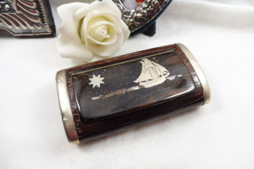 Vintage Silver Edged Paua Shell Carved Wooden Trinket Ring Box