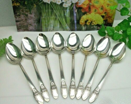 8  International Silver 1847 Rogers Bros  FIRST LOVE Place Oval Soup Spoons 1937