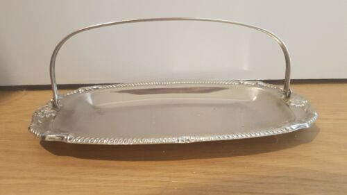 Hugo Silver plated 1970's sandwich dish embossed repousse with handle