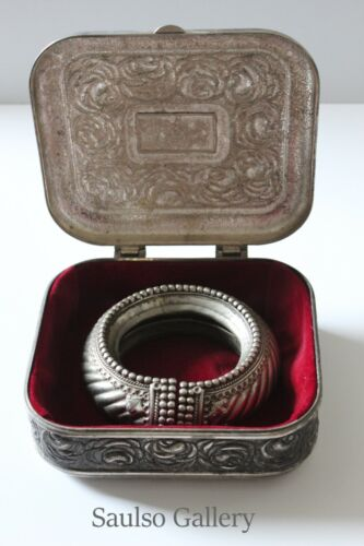 antique real Sliver trade slave bracelet with silver box from prominent estate