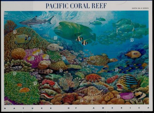 Mint Sheet of 10 PACIFIC CORAL REEF Stamps by John D. Dawson: Guam Tropical Fish