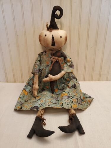 Primitive Grungy White Pumpkin Lady Halloween Doll & Her Crow