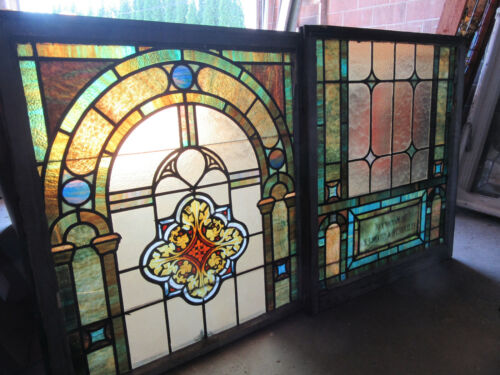 ~ ANTIQUE STAINED GLASS WINDOWS TOP AND BOTTOM SET S ~ ARCHITECTURAL SALVAGE
