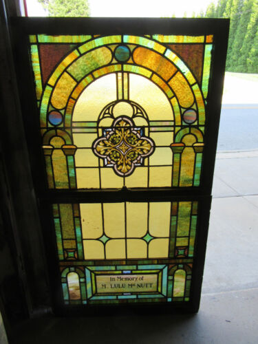 ~ ANTIQUE STAINED GLASS WINDOWS TOP AND BOTTOM SET M ~ ARCHITECTURAL SALVAGE