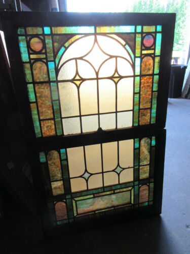 ~ ANTIQUE STAINED GLASS WINDOWS TOP AND BOTTOM SET I ~ ARCHITECTURAL SALVAGE