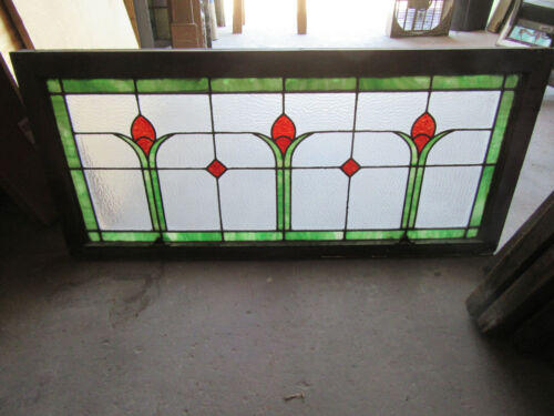 ~ ANTIQUE STAINED GLASS TRANSOM WINDOW COLORFUL 52 x 24 ~ ARCHITECTURAL SALVAGE