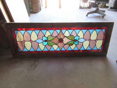 ~ ANTIQUE STAINED GLASS TRANSOM WINDOW COLORFUL 44 X 16 ~ ARCHITECTURAL SALVAGE
