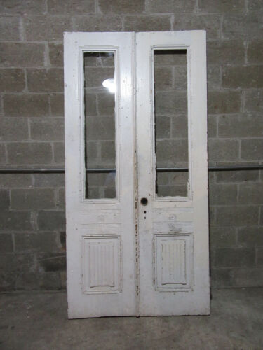 ~ ANTIQUE DOUBLE ENTRANCE FRENCH DOORS ~ 45.5 x 91.25 ~ ARCHITECTURAL SALVAGE