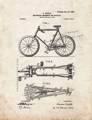 Mechanical Movement for Bicycles Patent Print Old Look