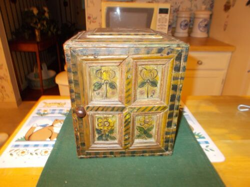 DATED 1859 EUROPEAN SPICE BOX WITH 6 DRAWERS ALL HAND PAINTED WITH CLOSING DOOR