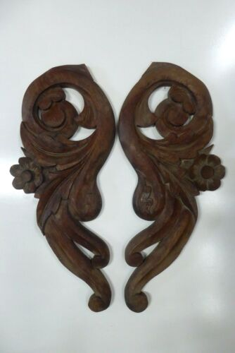 PAIR ANTIQUE WOODEN DECORATIVE HAND CARVED PANELS FLORAL LEAVES TIMBER ART CRAFT