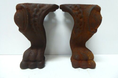 PAIR CAST IRON CLAW FOOT LEGS FOR ANTIQUE SHOWCASE GLASS DISPLAY CABINET