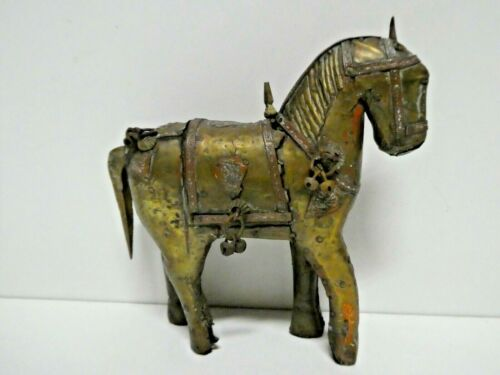 VINTAGE BRASS AND TIMBER HORSE STATUE ANTIQUE STYLE DECOR