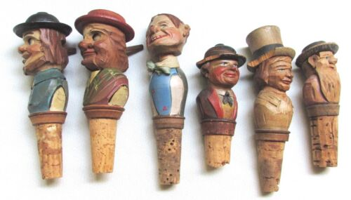 Vtg Hand Carved Wooden Lot of 6 Bottle Wine Cork STOPPER Repair Required 330r