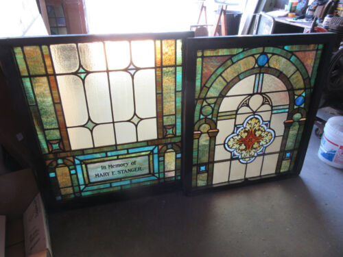 ~ ANTIQUE STAINED GLASS WINDOWS TOP AND BOTTOM SET HH ~ ARCHITECTURAL SALVAGE