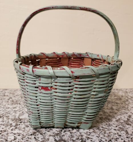 VINTAGE WOVEN SPLINT BASKET W HANDLE OLD GREEN OVER RED PAINT