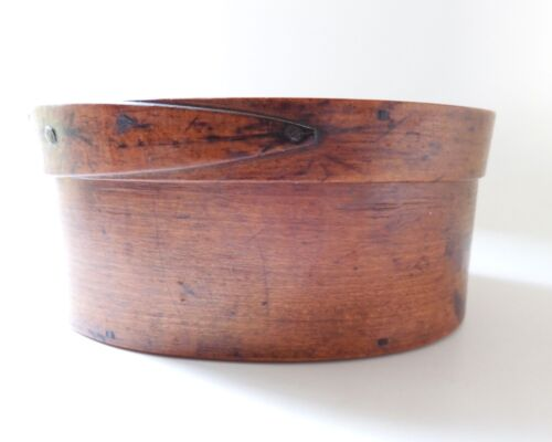 Small Antique Covered Pantry Box In Original Finish Wooden Points & Steel Tacks