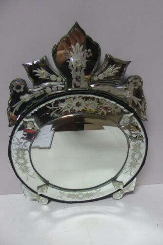 VENETIAN ANTIQUE STYLE CUT GLASS DRESSING TABLE MIRROR EASLE STAND OR WALL MOUNT