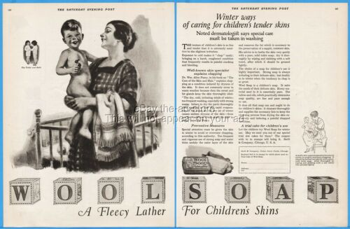1920 Wool Soap Swift Co Chicago Mother Son Fleecy Lather Bathroom Wall Décor Ad
