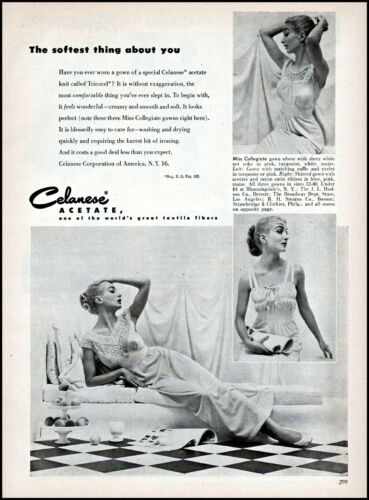 1952 woman in nightgown 3 pics Tricocel knit vintage photo print ad ads53