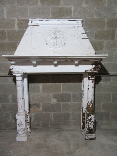 ~ ANTIQUE OAK FIREPLACE MANTEL CARVED EAGLE AND LIONS ~ 64 X 87 ~ SALVAGE