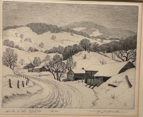 Vintage RONAU WOICESKE 'Winter in the Catskills' Landscape ETCHING - Listed