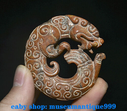 2'' Ancient Chinese Natural Jade Hand Carved Dragon Beast Pendant Amulet