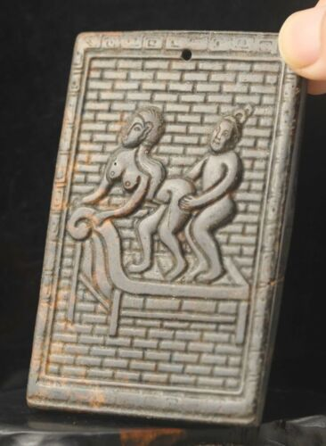 Chinese old natural jade hand-carved statue human pendant 3.5 inch