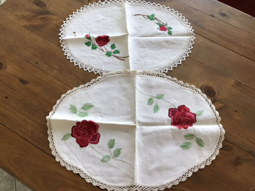 VINTAGE LINEN HAND EMBROIDERED ROSES DOILIES X 2.